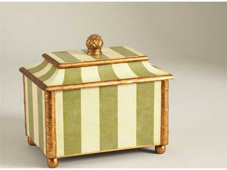 Chelsea House Striped Cream & Green with Gold Accent Box