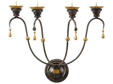 Chelsea House Kensington Old Black with Gold Accent Wall Candle Holder