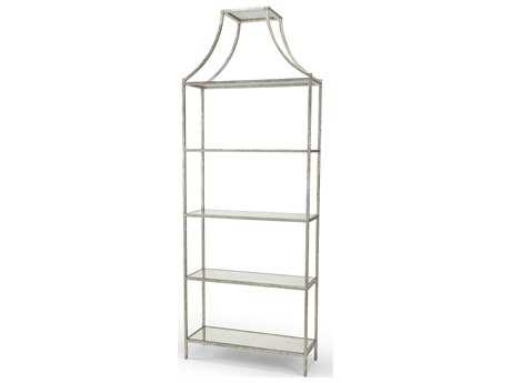 Chelsea House Lisa Kahn Antique Silver Leaf 36 x 96 Four-Shelves Bookcase