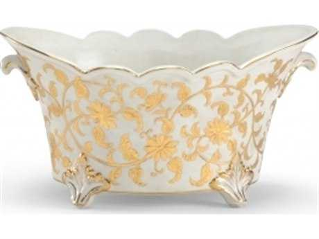 Chelsea House Footed Centerpiece Gold and White Planter