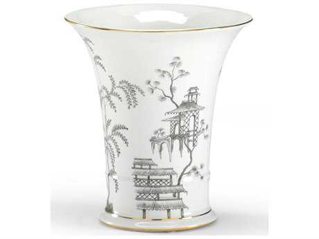 Chelsea House Black & White 9'' Chinoisserie Vase