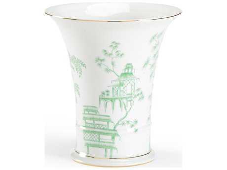 Chelsea House Chinoiserie White & Green Vase