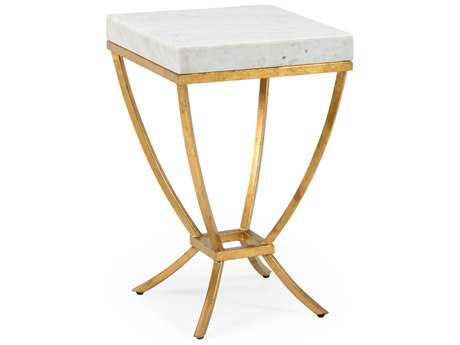 Chelsea House Brandon Antique Gold with White Marble 14'' Wide Square End Table
