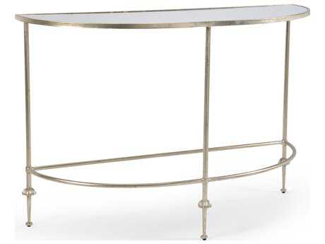 Chelsea House French Antique Silver 48''L x 18''W Demilune Console Table