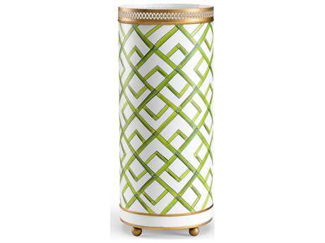 Chelsea House Bamboo White & Green with Antique Gold Accent Umbrella Stand