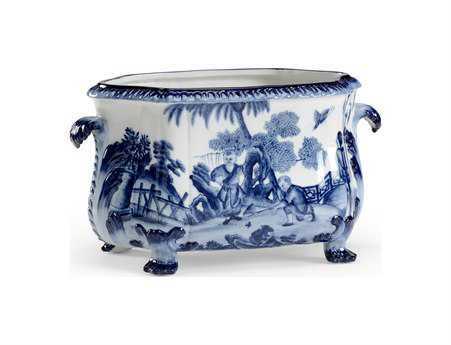 Chelsea House Hand Decorated Blue and White Porcelain Canton Foot Bath