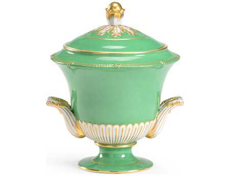 Chelsea House Hand Decorated Green And Gold Porcelain Covered Urn