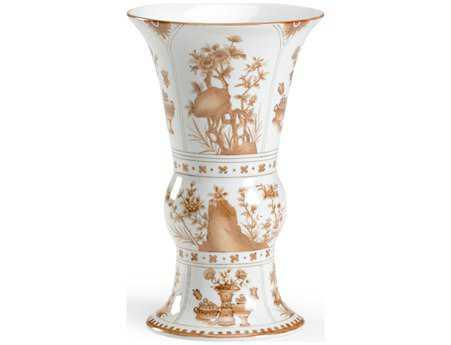 Chelsea House Hand Decorated Nutmeg Porcelain Oriental Vase