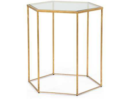 Chelsea House 21 x 24 Hexagon Antique Gold Riggins Side Table
