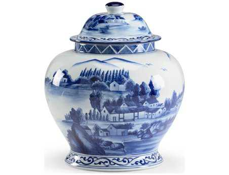 Chelsea House Hand Decorated Blue and White Porcelain Scenic Covered Jar