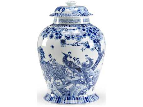 Chelsea House Peacock Blue & White Covered Jar