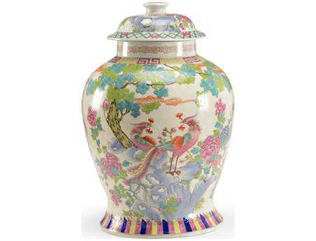 Chelsea House Hand Painted Large Porcelain Peacock Covered Urn