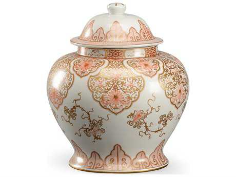 Chelsea House Nanking Rose & White with Gold Accent Jar