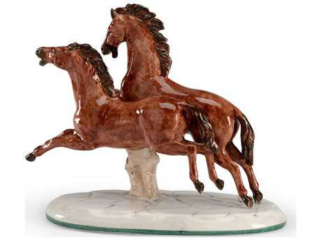 Chelsea House Brown & White Pair of Horses Sculpture