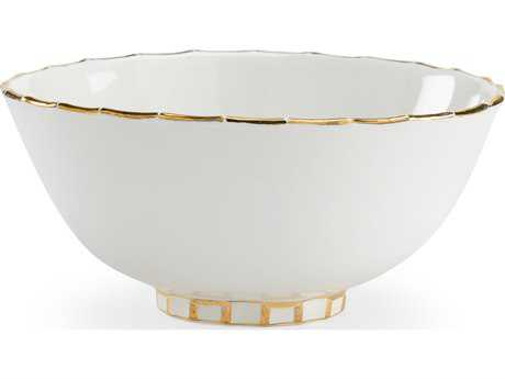 Chelsea House Off White with Gold Ring Bowl