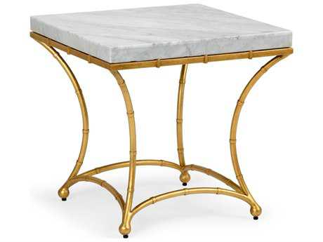 Chelsea House Bamboo Gold Leaf with White Marble 24'' Wide Square End Table