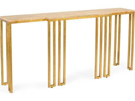 Chelsea House Warren Gold Leaf with Travertine 78''L x 20''W Rectangular Console Table