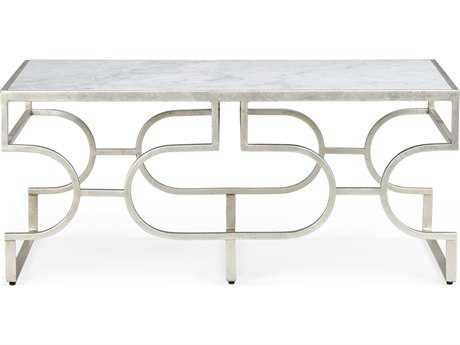 Chelsea House Contemporary Silver Leaf with White Marble 42.25''L x 22''W x 18.75''H Rectangular Coffee Table