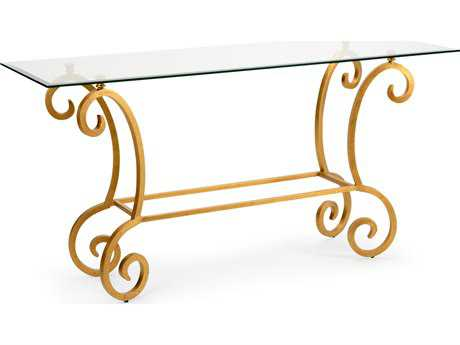 Chelsea House Amber Antique Gold Leaf Rectangular Console Table