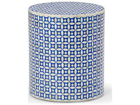 Chelsea House Lincoln Blue & White 16'' Wide Round End Table