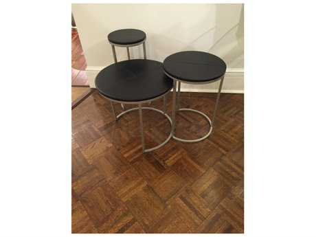 Chelsea House Black Leather Nesting Table (Set of Three)