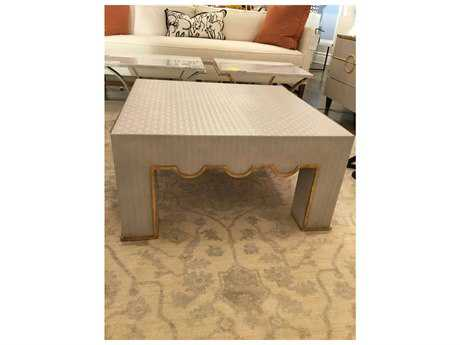 Chelsea House Begg Cream Leather with Antique Gold Leaf 34'' Wide Square Cocktail Table