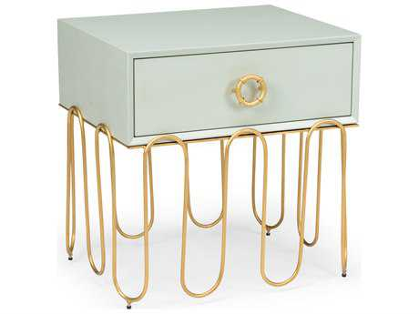 Chelsea House Albany Antique Jade with Antique Gold Leaf 22''L x 18''W Rectangular End Table