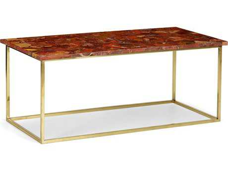 Chelsea House Jasper Red Jasper on Polished Brass 42.25''L x 20''W x 17.25''H Rectangular Coffee Table