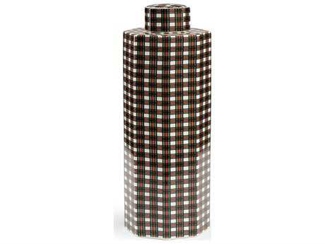 Chelsea House Green, Red, Black on White Plaid Leith Covered Urn