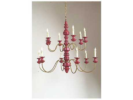 Chelsea House Red Antique Gold 12-Light Chandelier