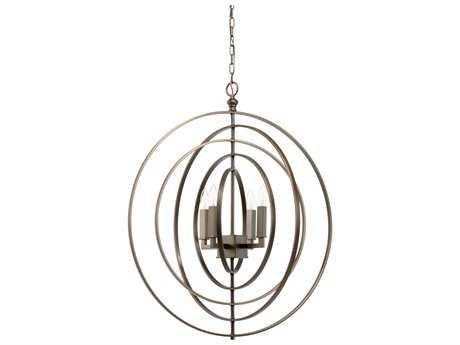 Chelsea House Glabe Brass with Old Bronze Four-Lights 30'' Wide Chandelier