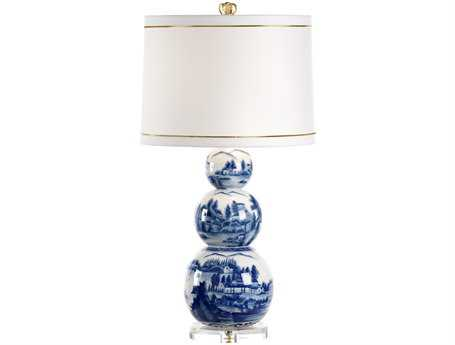 Chelsea House Small Scenic Blue with White Shade Table Lamp