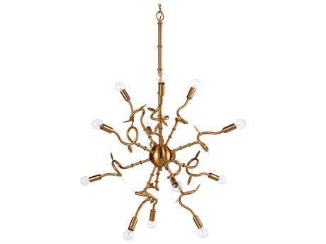 Chelsea House Bamboo Antique Brass 12-Lights 33'' Wide Grand Chandelier