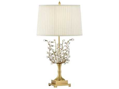 Chelsea House Crystal Flower Antique Brass Buffet Lamp