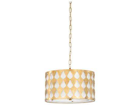 Chelsea House Florence Antique Gold Leaf Three-Lights 16'' Wide Pendant Light