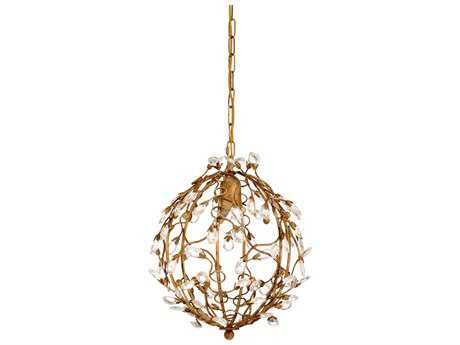 Chelsea House French Antique Gold Leaf with Crystal Tear Drop 12'' Wide Pendant Light