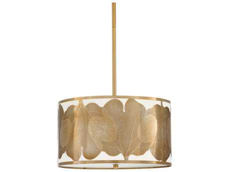 Chelsea House Leaf Antique Cut Brass with Frosted White Glass Four-Lights 18'' Wide Pendant Light