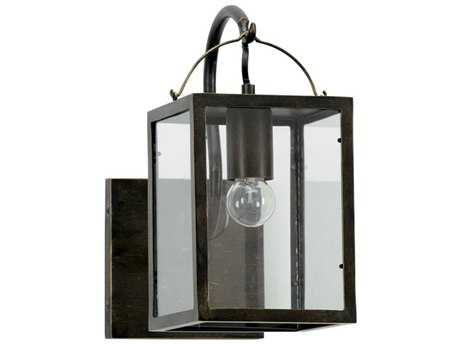 Chelsea House Boxwood Lantern Black with Gold Highlights Outdoor Wall Light