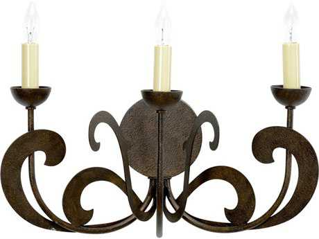 Chelsea House Forence Textured Bronze Three-Lights Wall Sconce