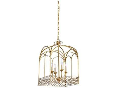 Chelsea House Harrison Antique Brass Four-Lights 16'' Wide Mini Chandelier