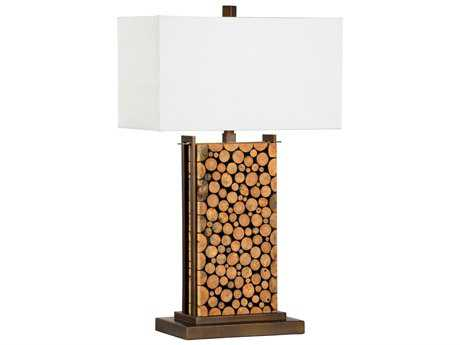 Chelsea House Wood Core Natural Wood with Bronze Buffet Lamp