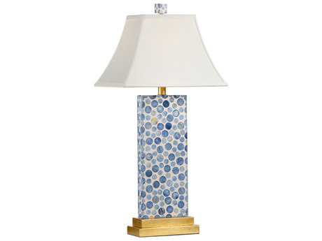 Chelsea House Bubble Cream with Blue on Antique Gold Leaf Buffet Lamp