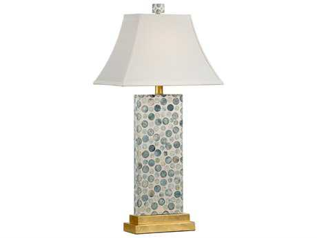 Chelsea House Bubble Cream with Green on Antique Gold Leaf Buffet Lamp