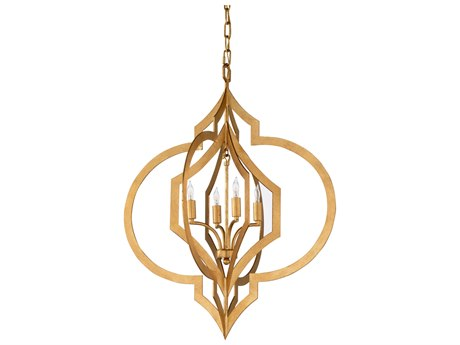 Chelsea House Heart Antique Gold Leaf Four-Light 25'' Wide Chandelier