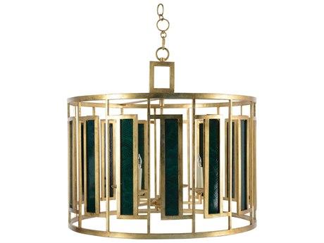 Chelsea House Malachite Drum Antique Gold Leaf & Malachite Four-Light 30'' Wide Chandelier