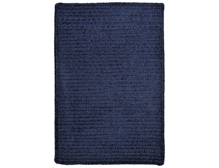 Chenille Rectangular Navy Area Rug