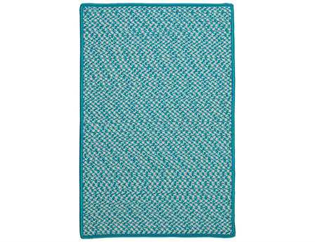 Colonial Mills Outdoor Houndstooth Tweed Rectangular Turquoise Area Rug