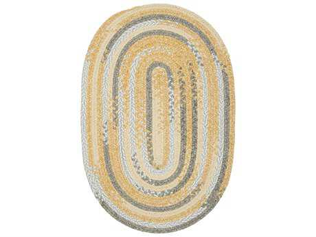 Colonial Mills Rag-Time Cotton Blend Area Rug Yellow & Gray Oval Area Rug