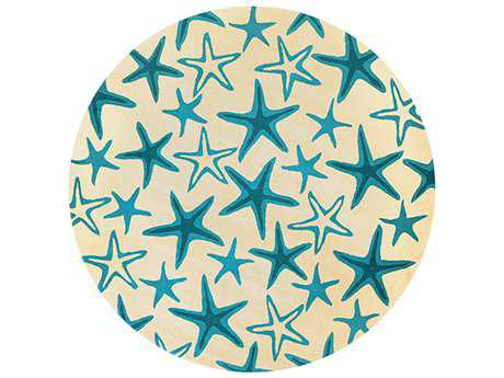 Couristan Beachfront Starfish Round Ivory & Azure Area Rug