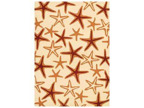 Couristan Beachfront Starfish Rectangular Ivory & Coral Area Rug